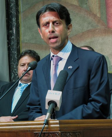 **FILE** Louisiana Gov. Bobby Jindal criticizes House budget negotiations in Baton Rouge on May 6, 2013. (Associated Press)