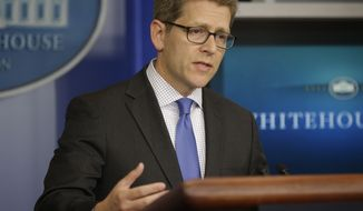 White House spokesman Jay Carney speaks during his daily news briefing at the White House in Washington on May, 10, 2013. (Associated Press)