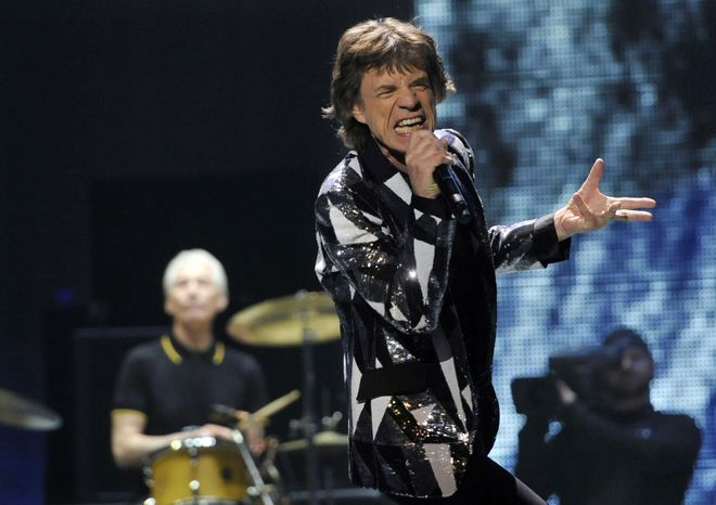 "**FILE** Mick Jagger of the Rolling Stones performs on the kickoff of the band's ""50 and Counting"" tour at the Staples Center in"