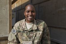 Sgt. Alisa Ballard, 31, is an information systems analyst from Fort Hood, Texas, serving in Afghanistan. On Mother's Day, she plans to Skype with her 11-month-old son, Christian, who lives with her parents in Woodbridge, Va. (Kristina Wong/The Washington Times)