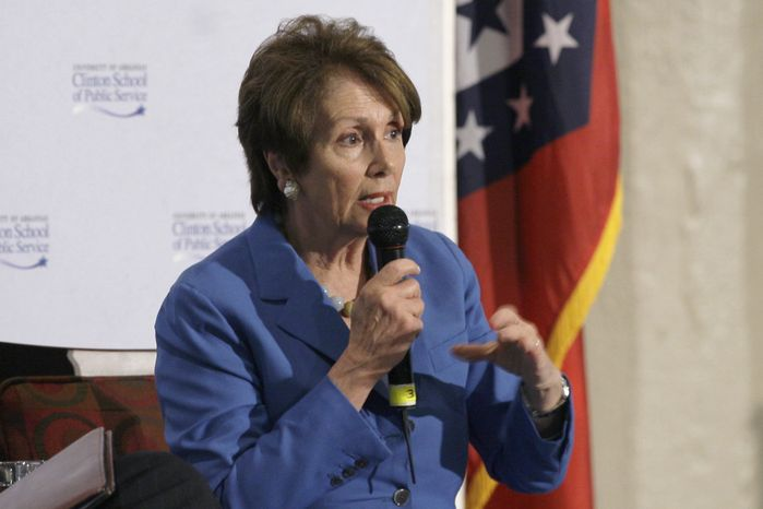 **FILE** Democratic House Leader Nancy Pelosi speaks at an event presented by the University of Arkansas Clinton School of Public Service in Little Rock, Ark., on May 2, 2013. (Associated Press)
