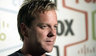 "** FILE ** Actor Kiefer Sutherland, star of the Fox series ""24,"" arrives at the Fox Fall Eco-Casino party in Los Angeles on Monday, Sept. 24, 2007. (AP Photo/Matt Sayles)"