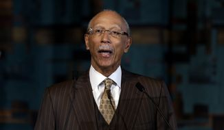 Detroit Mayor Dave Bing speaks during a news conference in Detroit on Tuesday, May 14, 2013. Mr. Bing announced he won't seek a second term as leader of the financially troubled city, which recently became the largest in the country to be placed under state oversight. (AP Photo/Paul Sancya)