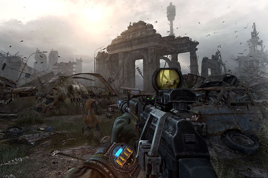 It's a dangerous world above ground in the first person shooter Metro: Last Light.