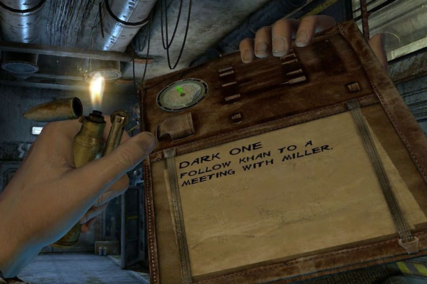 A player uses a handy lighter in the first person shooter Metro: Last Light.