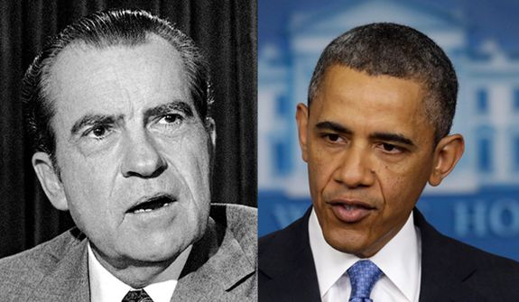 President Richard M. Nixon, left, and President Obama.