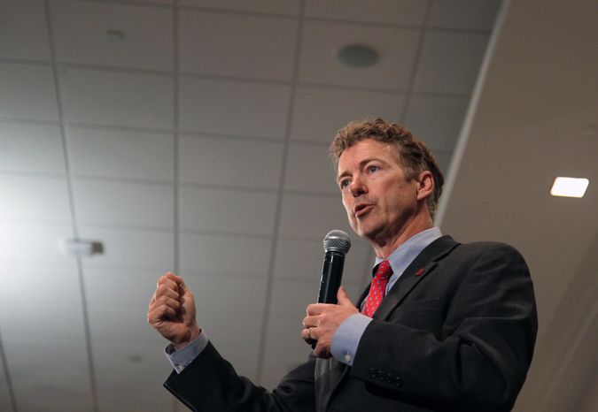 Sen. Rand Paul, Kentucky Republican, speaks at the Iowa GOP Lincoln Dinner on Friday, May 10, 2013, at the Hotel at Kirkwood Center in Cedar Rapids, Iowa. (AP Photo/Matthew Holst)