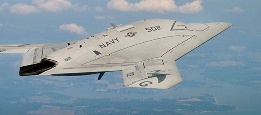 Northrop Grumman's X-47B Unmanned Combat Air System took off from the USS George H.W. Bush on Tuesday, May 14, 2013. (Image: Northrop Grumman)
