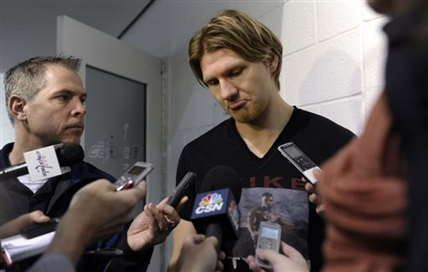 Washington Capitals' Martin Erat talks with reporters at the Kettler Iceplex in Arlington, Va., Wednesday, May 15, 2013. The Capitals were eliminated in the first round of the NHL Stanley Cup playoffs by the New York Rangers. The Capitals have had six consecutive playoff appearances and have failed to get past the second round. (AP Photo/Susan Walsh)