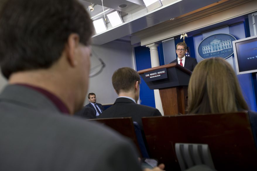White House spokesman Jay Carney speaks during his daily news briefing at the White House in Washington on May 15, 2013. (Associated Press)