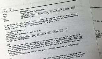 An email from then-CIA Director David Petraeus is among the 99 pages of emails regarding Benghazi released by the White House on May 15, 2013. Petraeus objected to the final talking points that U.N. Ambassador Susan Rice used five days after the deadly assault on a U.S. diplomatic post in Benghazi, Libya. The White House released 99 pages of emails and a single page of hand-written notes made by Petraeus' deputy, Mike Morell, after a meeting at the White House the day before Rice's appearance. (Associated Press)