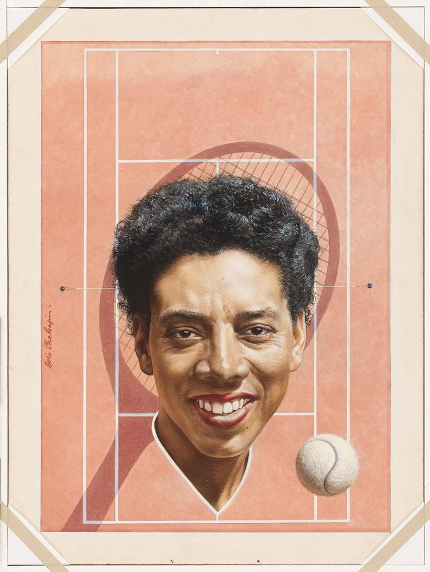 "ALTHEA GIBSON   by Boris Chaliapin   Watercolor and pencil on board   1957   Sight: 62.3 x 46.3 cm (24 1/2 x 18 1/4"")   Mat: 71.1 x 55.9 cm (28 x 22"")   National Portrait Gallery, Smithsonian Institution; gift of Time Magazine NPG.78.TC406"