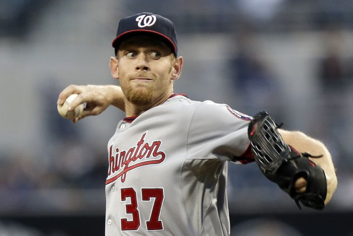 Stephen Strasburg pitched eight innings for the first time in his career on Thursday night in a 6-2 victory over the Padres. (Associated Press photo)