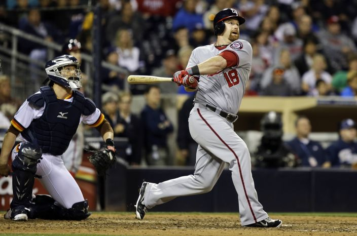 Chad Tracy hit the Nationals' first pinch-hit home run of the season in the 10th inning on Friday night, helping them to salvage a win over the Padres. (Associated Press photo)