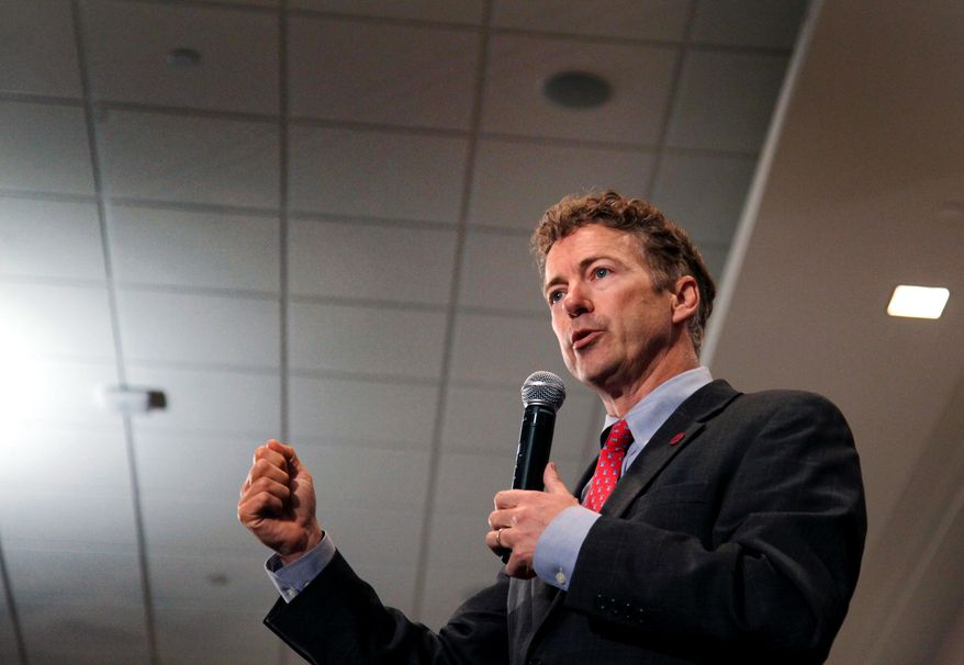 Sen. Rand Paul, Kentucky Republican, is giving the presidential nomination course a test run with appearances in Iowa and New Hampshire. (Associated Press)