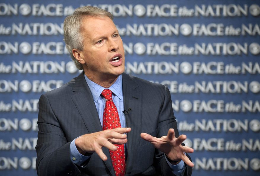 """Gary Pruitt, president and CEO of The Associated Press, discusses the leak investigation that led to his reporters' phone records being subpoenaed by the Justice Department, on CBS' """"Face the Nation"""" in Washington on Sunday, May 19, 2013. Mr. Pruitt said that the seizure of the records was """"unconstitutional"""" and that the secret subpoena has made sources less willing to talk to AP journalists. (AP Photo/CBS, Chris Usher)"""