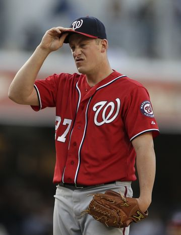 Jordan Zimmermann reacts during the Nationals' loss to the Padres on Saturday. (Associated Press photo)