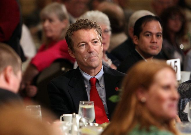 """Sen. Rand Paul, visiting New Hampshire, said of the Republican Party: """"We need to look like the rest of America. We need to be able to appeal to the working class."""" (Associated Press)"""