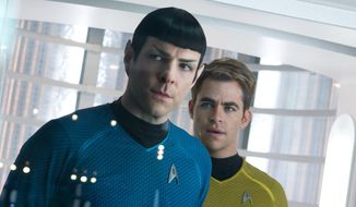 "Zachary Quinto (left) as Spock and Chris Pine as Kirk appear in a scene from the film ""Star Trek: Into Darkness."" (AP Photo/Paramount Pictures, Zade Rosenthal)"