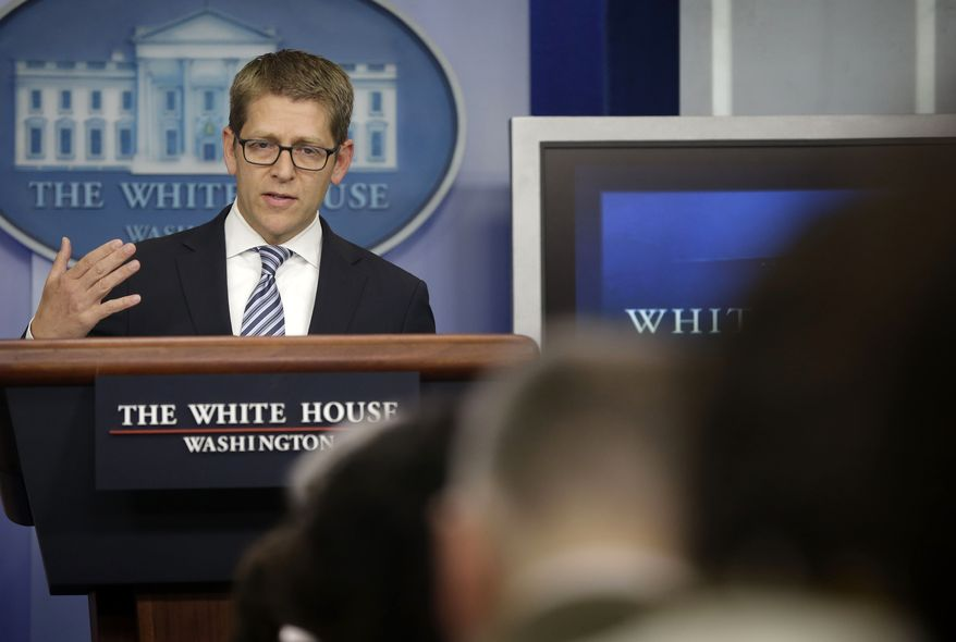 White House Press Secretary Jay Carney speaks during his daily news briefing at the White House in Washington on May, 20, 2013. (Associated Press)