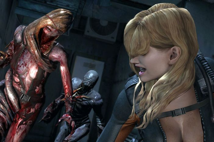 Rachel tries to outrun Rachel in the video game Resident Evil Revelations.