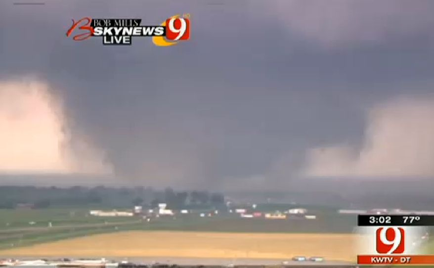 This frame grab provided by KWTV shows a tornado in Oklahoma City on May 20, 2013. Television footage shows flattened buildings and fires after a mile-wide tornado moved through the Oklahoma City area. (Associated Press/Courtesy KWTV)