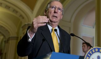 ** FILE ** Senate Minority Leader Mitch McConnell, Kentucky Republican, speaks during a news conference on Capitol Hill in Washington on Tuesday, May 21, 2013, following a Republican policy luncheon. (Associated Press)