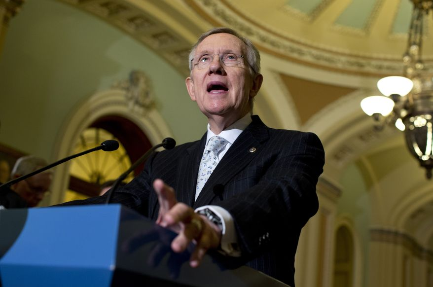 Senate Majority Leader Harry Reid, Nevada Democrat, speaks May 21, 2013, during a news conference on Capitol Hill in Washington following the Democratic policy luncheon. (Associated Press)