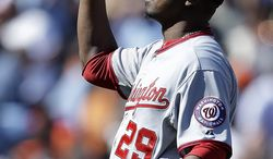 Washington Nationals' Rafael Soriano celebrates after the defeat of the San Francisco Giants in a baseball game on Wednesday, May 22, 2013, in San Francisco. (AP Photo/Ben Margot)