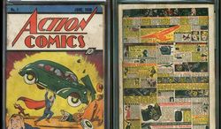 """This image provided by Metropolis Collectibles/ComicConnect, Corp., shows the front and back cover of """"Action Comics No. 1"""" from 1938, featuring the debut of Superman, that was found by David Gonzales. He got into a heated discussion with a relative about its value, and the back cover got ripped. (Associated Press)"""