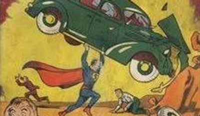 """In this image provided by Metropolis Collectibles/ComicConnect, Corp., shows the front and back cover of """"Action Comics No. 1"""" from 1938, featuring the debut of Superman, that was found by David Gonzales mixed in with old newspapers insulating a wall in a house he was renovating in a small town in Minnesota. He got into a heated discussion with a relative about its value, and the back cover got ripped lowering the grade to 1.5 based on a 10-point scale. (Associated Press)"""