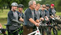 Former President George W. Bush rode with 14 veterans during the third annual Warrior 100K ride this past weekend through rough terrain near Waco, Texas. (George W. Bush Institute)
