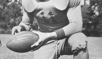 "Keith Birlem is pictured during his time as a quarterback at San Jose State in 1938. He was named a ""Little All-American"" that year and went on to play in the NFL for the Chicago Cardinals and Washington Redskins. Birlem was killed in an airplane accident May 7, 1943 near Polebrook, England. (San Jose State University)"