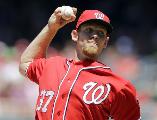 Washington Nationals starting pitcher Stephen Strasburg (37) throws during a baseball game against the Philadelphia Phillies at Nationals Park Sunday, May 26, 2013, in