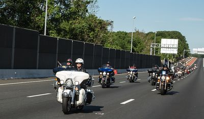Fairfax VA Chapter, Harley Owners Group, ride down Interstate 66 during the annual Ride of the Patriots, in support of Rolling Thunder, in Fairfax, VA., Sunday, May 26, 2013.  (Andrew S Geraci/The Washington Times)