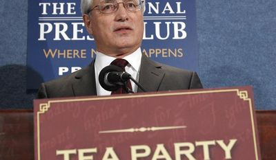 **FILE** Tea Party Express chief strategist Sal Russo speaks at the National Press Club in Washington on May 11, 2011. (Associated Press)