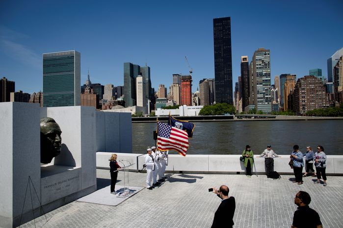 New York Congresswoman Carolyn Maloney speaks during a Memorial Day wreath laying at the Franklin D. Roosevelt Four Freedoms Park on Rooseve