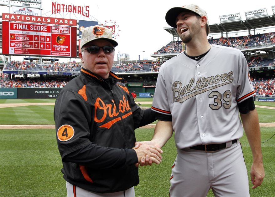 Baltimore Orioles manager Buck Showalter, left, shakes hands with starting pitcher Jason Hammel after an interleague baseball game against the Washington Nationals at Nationals Park Monday, May 27, 2013, in Washington. Hammel pitched eight innings allowing eight hits, and the Orioles won 6-2. (AP Photo/Alex Brandon)