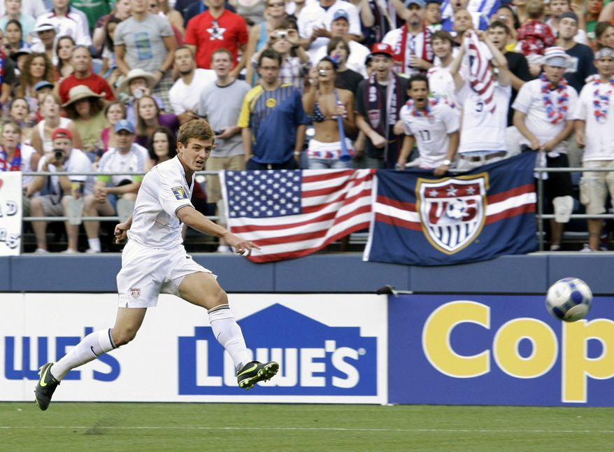 ** FILE ** In July 4, 2009, file photo, United States' Robbie Rogers kicks against Grenada in a CONCACAF Gold Cup match at Qwest Field in Seattle. Rogers is eligible to make his debut with the Los Angeles Galaxy after Major League Soccer said it had received his international transfer certificate. (AP Photo/Ted S. Warren, File)