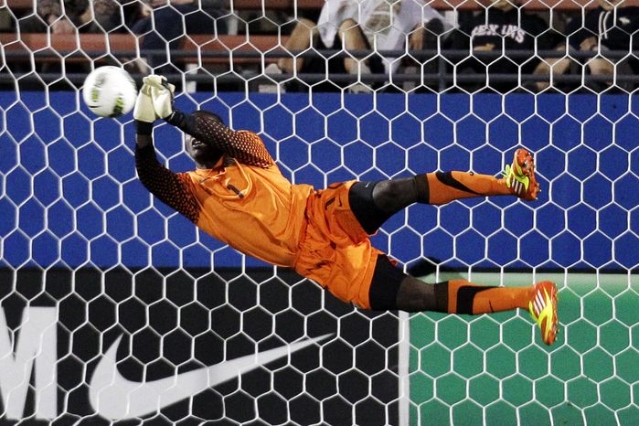 **FILE** United States goalie Bill Hamid (1) blocks a shot from Mexico in the first half of an under-23 international friendly soccer match at FC Dallas Stadium, Wednesday, Feb. 29, 2012, in Frisco, Texas. (AP Photo/Tony Gutierrez)
