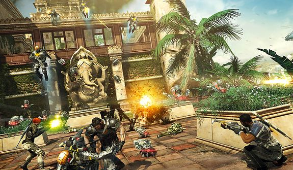Battle waves of soldiers in exotic locales in the video game Fuse.