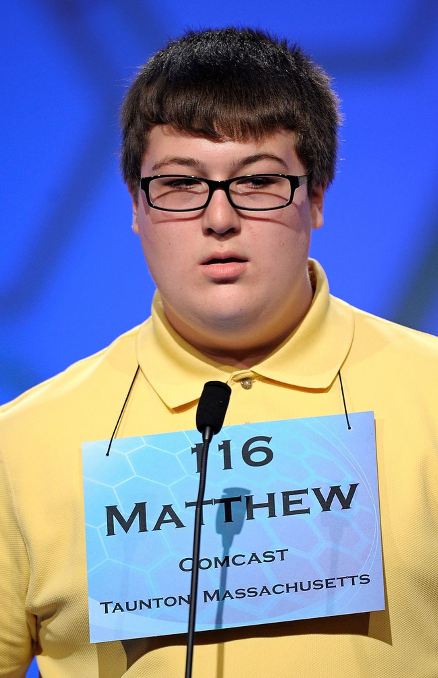 "Matthew Donohue, 14, of Kingston, Mass., incorrectly spells ""diplodocus"" during the semifinal round of the Scripps National Spelling Bee in Oxon Hill, Md., Thursday, May 30, 2013. (AP Photo/Cliff Owen)"