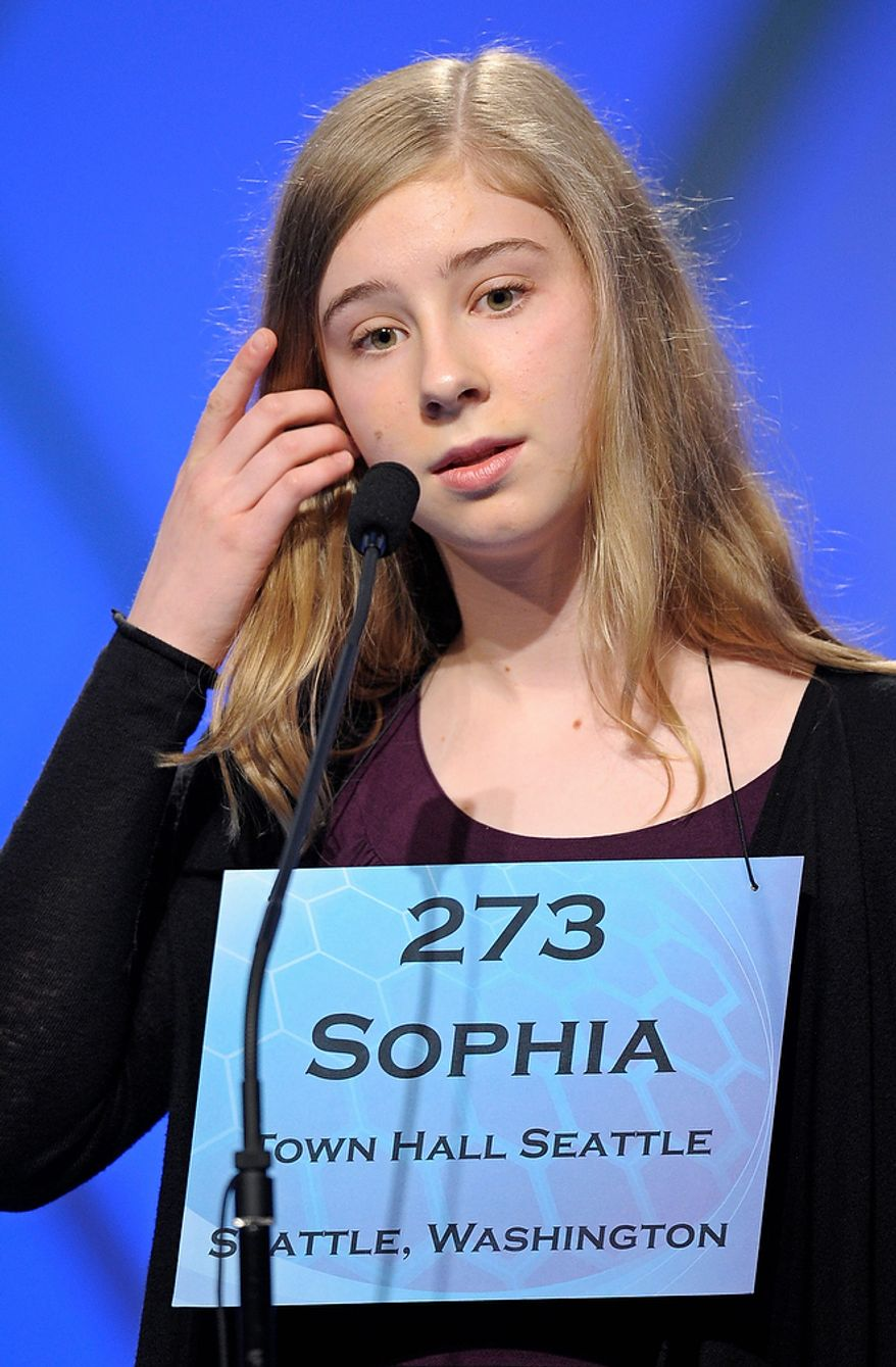 """Sophia Limacher, 13, of Seattle, Wash, incorrectly spells """" morosoph"""" during the semifinal round of the Scripps National Spelling Bee in Oxon Hill, Md., Thursday, May 30, 2013. (AP Photo/Cliff Owen)"""