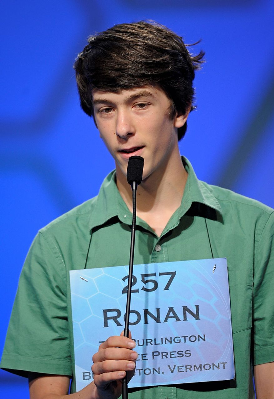Ronan Howlett, 14, of Cornwall, Vt., incorrectly spells his word during the semifinal round of the Scripps National Spelling Bee in Oxon Hill, Md., Thursday, May 30, 2013. (AP Photo/Cliff Owen)