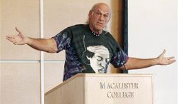 ** FILE ** Former Minnesota Gov. Jesse Ventura, wearing a shirt featuring an image of guitarist Jimi Hendrix, speaks at Macalester College on Friday, Sept. 21, 2012, in St. Paul, Minn., before an address by former New Mexico Gov. Gary Johnson. (Associated Press)