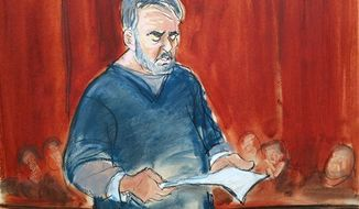 A courtroom sketch shows Manssor Arbabsiar reading a statement Thursday, May 30, 2013, in Manhattan Federal Court, in New York before the judge sentenced the former used car salesman from Corpus Christi, Texas, to 25 years in prison in a failed conspiracy to kill the Saudi Arabian ambassador to the United States by bombing a Washington restaurant. (Associated Press)