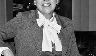 """** FILE ** Actress Jean Stapleton speaks during an interview in Washington on Wednesday, March 3, 1977, saying she will increase speaking out to the """"Edith Bunkers"""" of the land to try and muster support for the Equal Rights Amendment. Stapleton, who played Edith Bunker in the groundbreaking 1970s TV comedy """"All in the Family,"""" has died. She was 90. John Putch said Saturday, June 1, 2013 that his mother died Friday, May 31, 2013 of natural causes at her New York City home surrounded by friends and family. (AP Photo/Jeff Taylor)"""