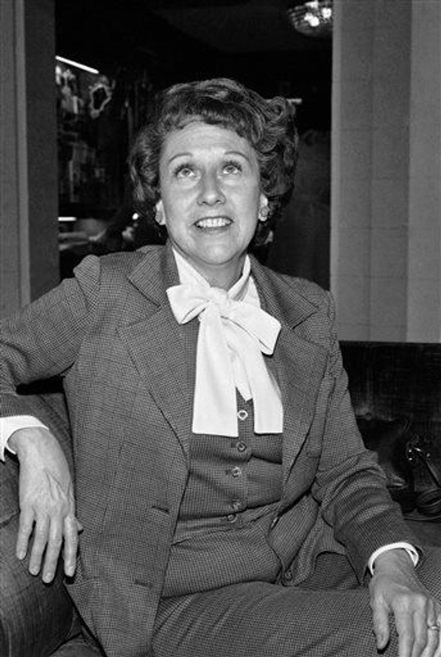 "** FILE ** Actress Jean Stapleton speaks during an interview in Washington on Wednesday, March 3, 1977, saying she will increase speaking out to the ""Edith Bunkers"" of the land to try and muster support for the Equal Rights Amendment. Stapleton, who played Edith Bunker in the groundbreaking 1970s TV comedy ""All in the Family,"" has died. She was 90. John Putch said Saturday, June 1, 2013 that his mother died Friday, May 31, 2013 of natural causes at her New York City home surrounded by friends and family. (AP Photo/Jeff Taylor)"