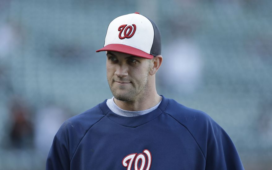 Bryce Harper is likely headed to the disabled list with bursitis in his left knee. (Associated Press photo)