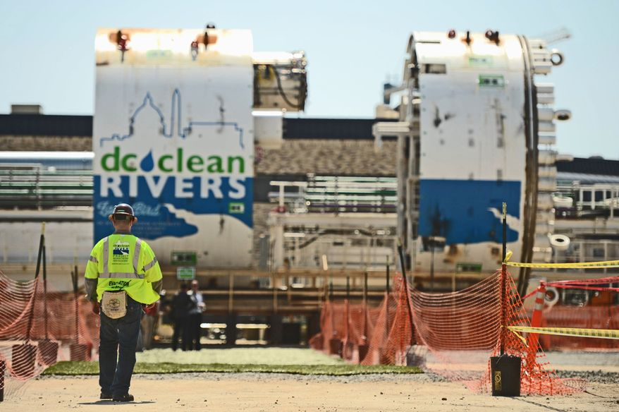 DIGGING IT: D.C. Water is spending $1.6 billion to build a tunnel following the course of the Anacostia River to divert sewage system overflows to the Blue Plains Advanced Wastewater Treatment Plant. It is expected to be completed by 2017. (Andrew Harnik, The Washington Times)